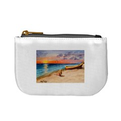 Alone On Sunset Beach Coin Change Purse by TonyaButcher