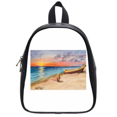 Alone On Sunset Beach School Bag (small)