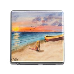 Alone On Sunset Beach Memory Card Reader With Storage (square) by TonyaButcher