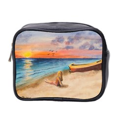 Alone On Sunset Beach Mini Travel Toiletry Bag (two Sides)