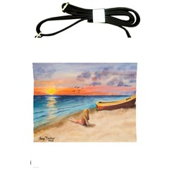 Alone On Sunset Beach Shoulder Sling Bag