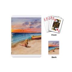 Alone On Sunset Beach Playing Cards (mini) by TonyaButcher