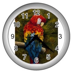 Preening Wall Clock (silver) by TonyaButcher