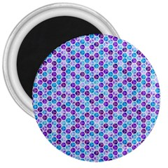 Purple Blue Cubes 3  Button Magnet by Zandiepants