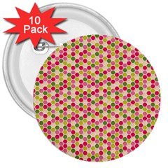 Pink Green Beehive Pattern 3  Button (10 Pack) by Zandiepants