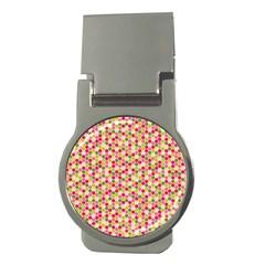 Pink Green Beehive Pattern Money Clip (Round) by Zandiepants