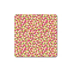 Pink Green Beehive Pattern Magnet (square) by Zandiepants