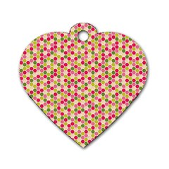 Pink Green Beehive Pattern Dog Tag Heart (one Sided)  by Zandiepants