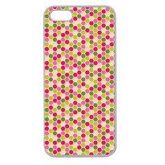 Pink Green Beehive Pattern Apple Seamless Iphone 5 Case (clear) by Zandiepants