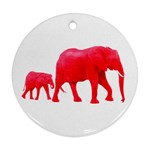 Red Elephant & Calf Ornament (Round)