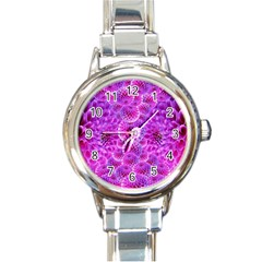 Purple Dahlias Round Italian Charm Watch by FunWithFibro