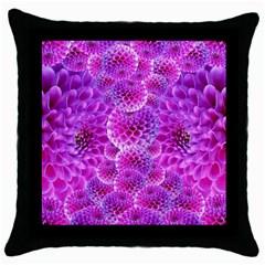 Purple Dahlias Black Throw Pillow Case by FunWithFibro