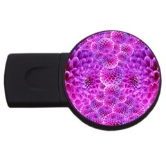 Purple Dahlias 4gb Usb Flash Drive (round) by FunWithFibro