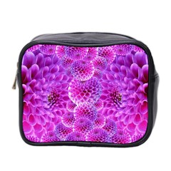 Purple Dahlias Mini Travel Toiletry Bag (two Sides) by FunWithFibro