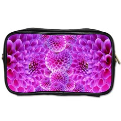 Purple Dahlias Travel Toiletry Bag (two Sides) by FunWithFibro