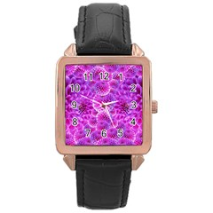 Purple Dahlias Rose Gold Leather Watch