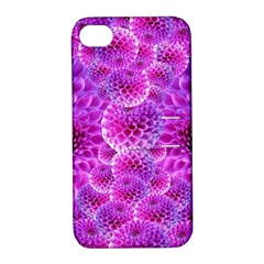 Purple Dahlias Apple Iphone 4/4s Hardshell Case With Stand by FunWithFibro