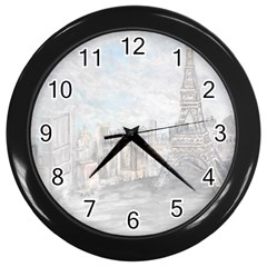 Eiffel Tower Paris Wall Clock (black) by rokinronda