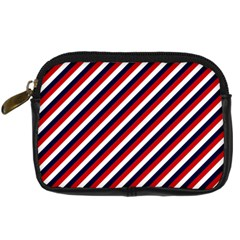 Diagonal Patriot Stripes Digital Camera Leather Case by StuffOrSomething