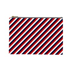 Diagonal Patriot Stripes Cosmetic Bag (large) by StuffOrSomething