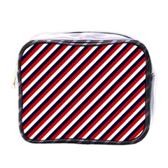 Diagonal Patriot Stripes Mini Travel Toiletry Bag (one Side) by StuffOrSomething