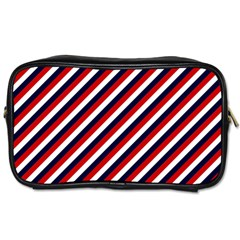 Diagonal Patriot Stripes Travel Toiletry Bag (two Sides) by StuffOrSomething