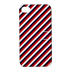 Diagonal Patriot Stripes Apple Iphone 4/4s Hardshell Case With Stand by StuffOrSomething
