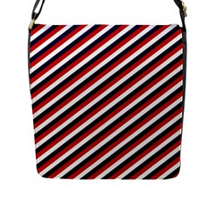 Diagonal Patriot Stripes Flap Closure Messenger Bag (large) by StuffOrSomething
