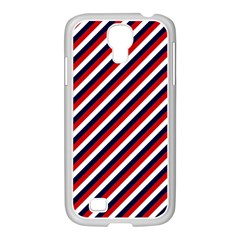 Diagonal Patriot Stripes Samsung Galaxy S4 I9500/ I9505 Case (white) by StuffOrSomething