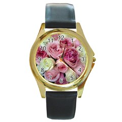 Tapestry Wedding Bouquet Round Gold Metal Watch by Khoncepts