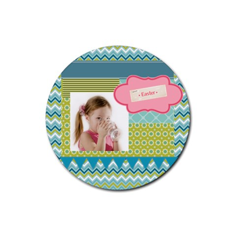 Easter By Easter   Rubber Round Coaster (4 Pack)   Tlk4mr5ayex4   Www Artscow Com Front