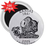 Kansas 3  Magnet (100 pack)