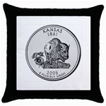 Kansas Throw Pillow Case (Black)