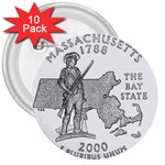 Massachusetts 3  Button (10 pack)