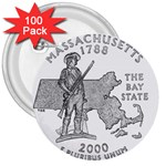 Massachusetts 3  Button (100 pack)