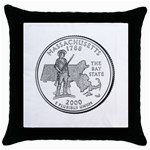 Massachusetts Throw Pillow Case (Black)