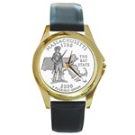 Massachusetts Round Gold Metal Watch