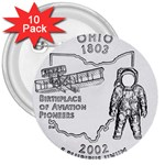 Ohio 3  Button (10 pack)
