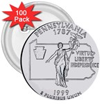 Pennsylvania 3  Button (100 pack)