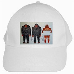 3 Bigfoot, H, A, S, On White, White Baseball Cap by creationtruth
