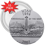 Utah 3  Button (10 pack)