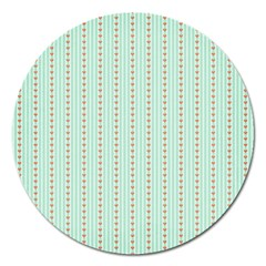 Hearts & Stripes Magnet 5  (round) by StuffOrSomething