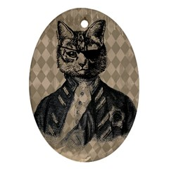 Harlequin Cat Oval Ornament by StuffOrSomething