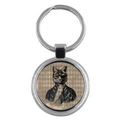 Harlequin Cat Key Chain (round) by StuffOrSomething
