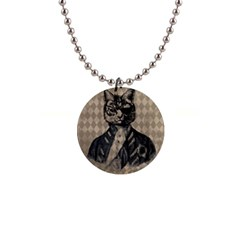 Harlequin Cat Button Necklace