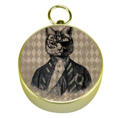 Harlequin Cat Gold Compass by StuffOrSomething