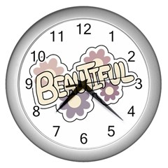 Beautiful Floral Art Wall Clock (silver) by Colorfulart23