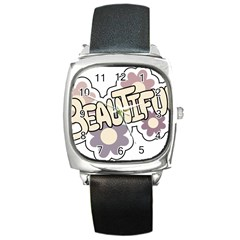 Beautiful Floral Art Square Leather Watch by Colorfulart23