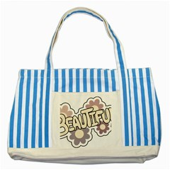 Beautiful Floral Art Blue Striped Tote Bag by Colorfulart23