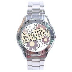 Beautiful Floral Art Stainless Steel Watch by Colorfulart23